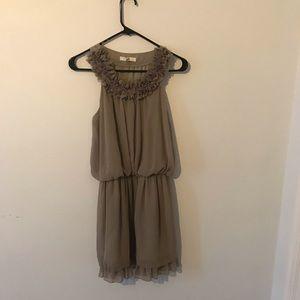 Gray Halter Ruffle Dress